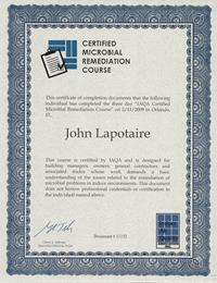 John Lapotaire CMRS Certified Microbial Remediation Supervisor